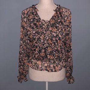 New American Eagle floral metallic crop top shirt